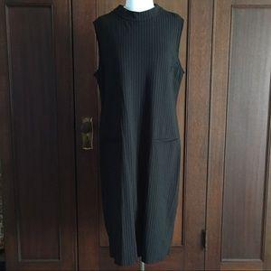 Black knit pinstripe sleeveless midi dress 14